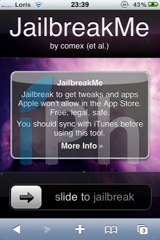 IMG 04101 Tutoriel   JailbreakMe iOS 4 iPhone 3G / 3GS / 4 iPod Touch 2G / 3G et iPad 3.2 / 3.2.1 par Comex [VIDEO][MAJ]