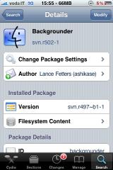 backgrounder ios4 Cydia    Mise à jour de Backgrounder en version svnr515 beta 2