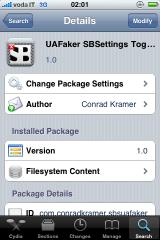 img 0054 Cydia    UAFaker SBSettings Toggle : un toggle pour User agent Faker