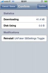 img 0055 Cydia    UAFaker SBSettings Toggle : un toggle pour User agent Faker
