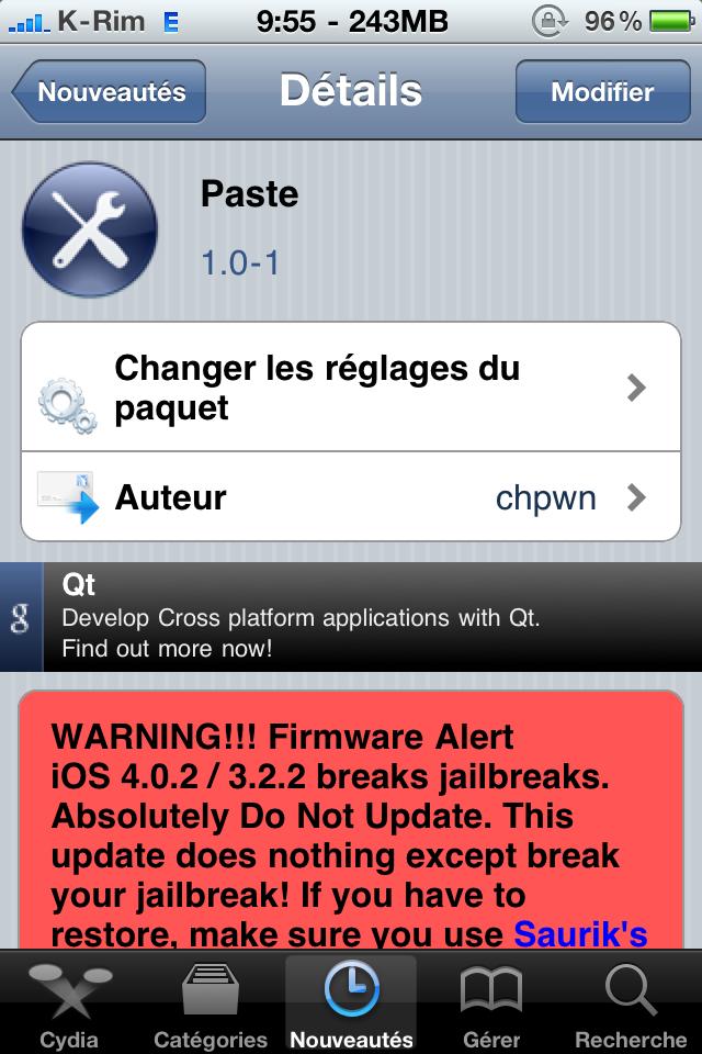 paste Cydia   Paste 1.0 1 : Mise à jour disponible
