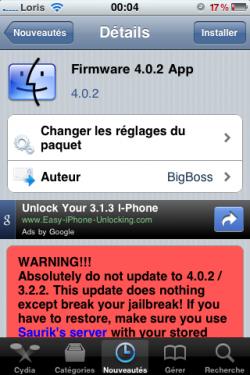 photo 1 250x375 Cydia   Faites croire à iTunes que vous êtes au firmware 4.0.2 avec Firmware 4.0.2 App
