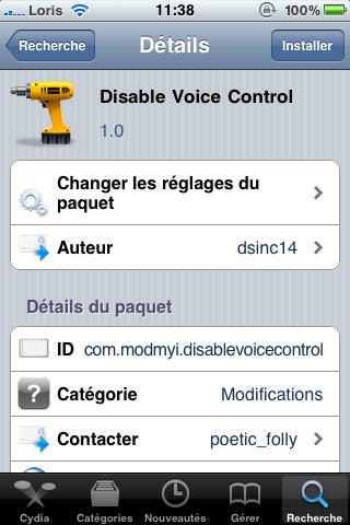 photo 114 Cydia   Disable Voice Control disponible pour iPhone 4