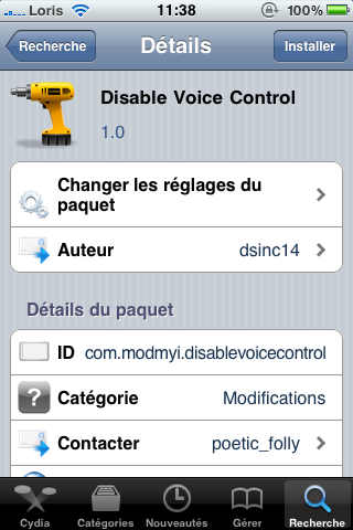 photo 114 Cydia   Disable Voice Control disponible pour iPhone 4