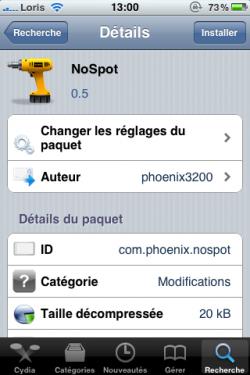 photo 115 250x375 Cydia   NoSpot : Désactivez SpotLight sur votre appareil