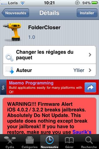 photo 17 Cydia   FolderCloser : Fermez le dossier ouvert lors du retour au SpringBoard