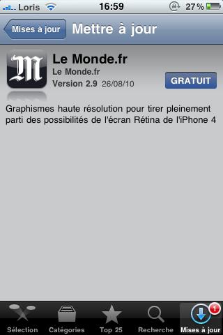 photo 44 AppStore   Lapplication Le Monde se met à jour en version 2.9 : compatible iPhone 4