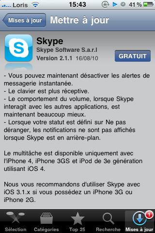 photo10 AppStore   Skype mis à jour en version 2.1.1