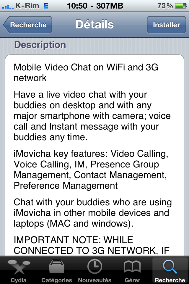 cydia imovicha chat vid o entre iphone pc mac android appsystem. Black Bedroom Furniture Sets. Home Design Ideas