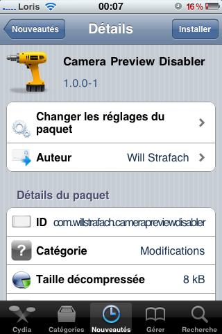 photo7 Cydia   Camera Preview Disabler : enlevez la preview des photos à lapplication Appareil Photo