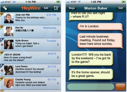 15 AppStore   HeyWire Text Worldwide : Envoyer des SMS gratuitement partout dans le monde