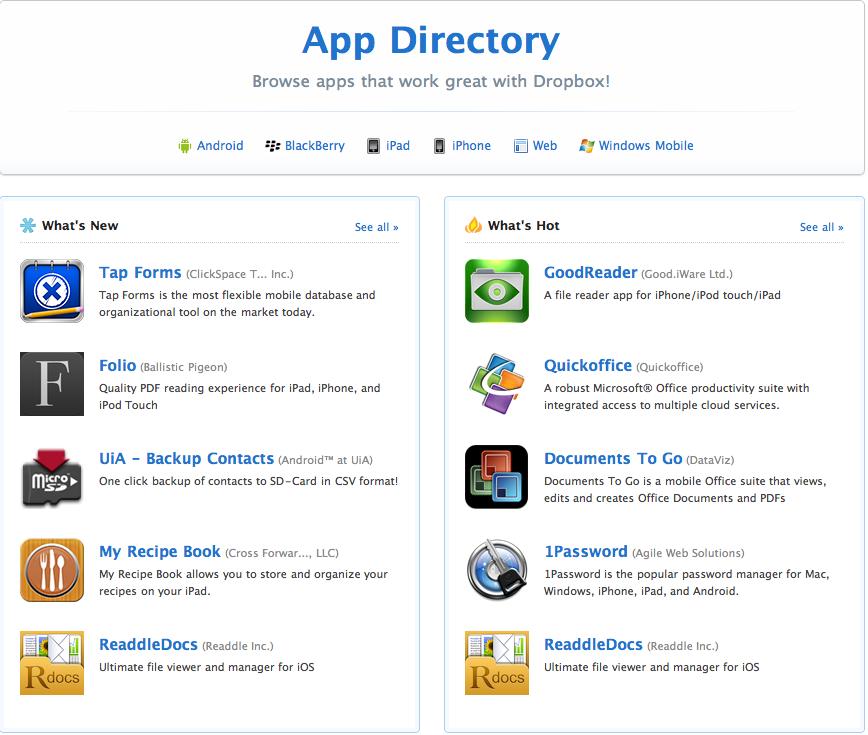 Capture d'écran 2010 09 23 à 14.44.11 AppStore – DropBox se met à jour : nouvelle interface et App Directory