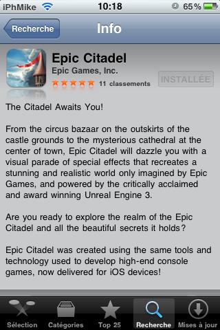 IMG 00691 AppStore   Epic Citadel, application présentée pendant la Keynote du 1er septembre [vidéo]