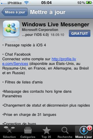 IMG 01611 AppStore   Windows Live Messenger mis à jour en 1.1.1
