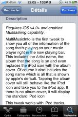 IMG 1182 160x240 Cydia   MultiMusicInfo : Afficher les informations de la musique dans le dock multitâche