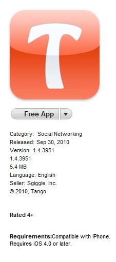 Tango Appstore   TANGO: Une nouvelle application pour les appels gratuits et des appels vidéo sur 3G et WiFi !