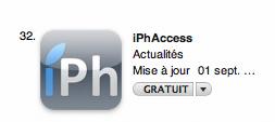 classement AppStore   iPhAccess : 32eme application sur 100 catégorie actualité : vos retours