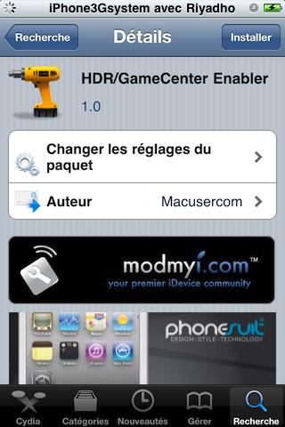 cydia hdr gamecenter 21 Cydia   HDR/GameCenter Enabler : Activer le HDR & GameCenter sur iPhone 3G | 3GS