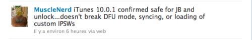 d3 500x80 News   iTunes 10.0.1 ne pose aucun problème pour le jailbreak