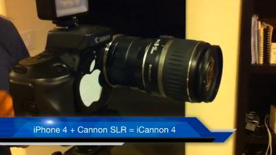 iphone4canonreflex Vidéo   iCannon : un iPhone 4 dans un Canon Reflex SLR ça donne quoi ?