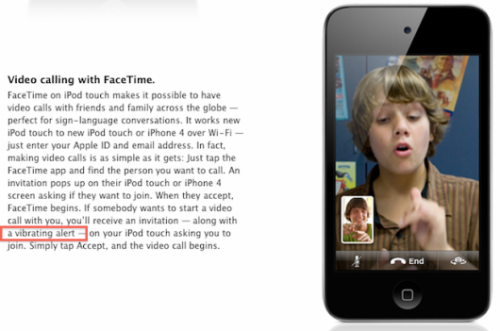 ipodtouchvibrate 530x351 500x331 News   Le prochain iPod Touch sera équipé dun dispositif de vibration
