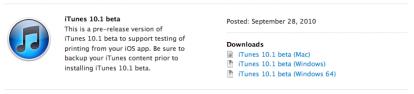 itunes10 1 News   Bêta iTunes 10.1 disponible pour les développeurs