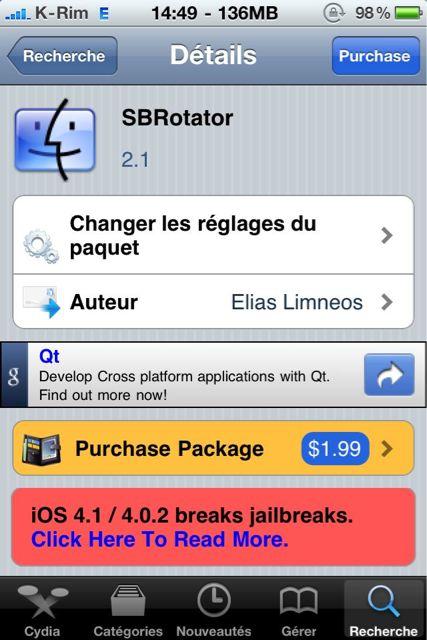Cydia   SBRotator 2.1 : Correction de tous les bugs sous iOS 4