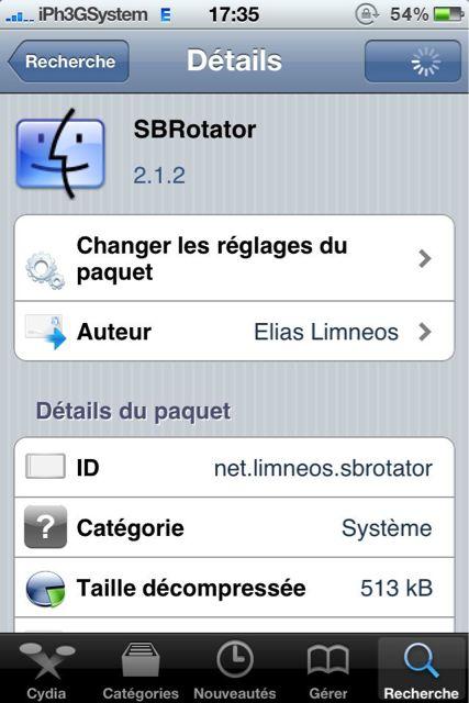 Cydia   SBRotator : Mise à jour en version 2.1.2