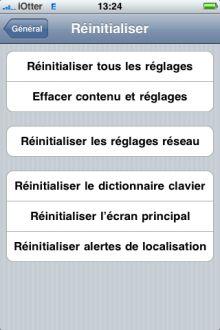 reglages reset Tutoriel   Effacer toutes traces du Jailbreak avant lenvoi de liPhone en SAV