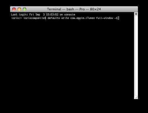 terminal1 500x381 Astuces   Remettre les 3 icônes à lhorizontal sous iTunes 10