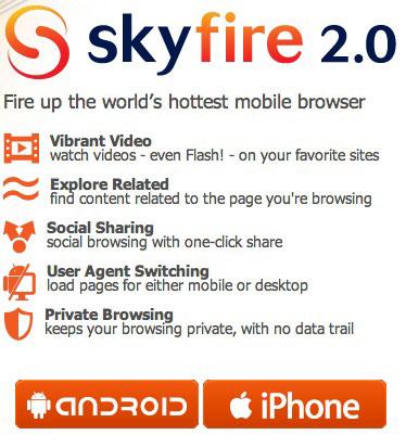 165 AppStore   SkyFire : le navigateur internet supportant le Flash bientôt disponible [Vidéo]