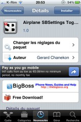177 160x240 Cydia   Airplane SBSettings Toggle : Mode avion sur SBSettings