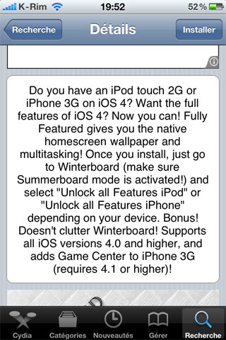 222 Cydia   Fully Featured : Activer toutes les fonctionnalités de liOS 4 sur iPod Touch 2G et iPhone 3G