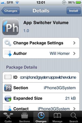 243 Cydia   AppSwitcherVolume : Contrôler le volume depuis la barre multitâche