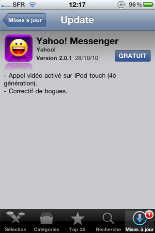 244 AppStore   Yahoo! Messenger passe en version 2.0.1