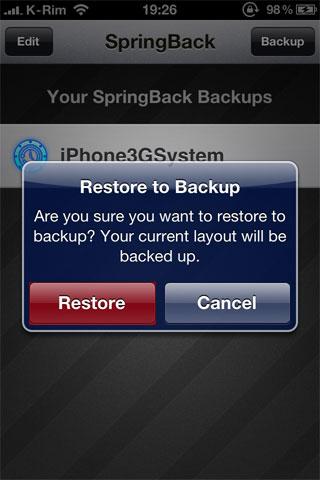 52 Cydia   SpringBack 4.0 : Faites un backup de la position des icônes sur la SpringBoard