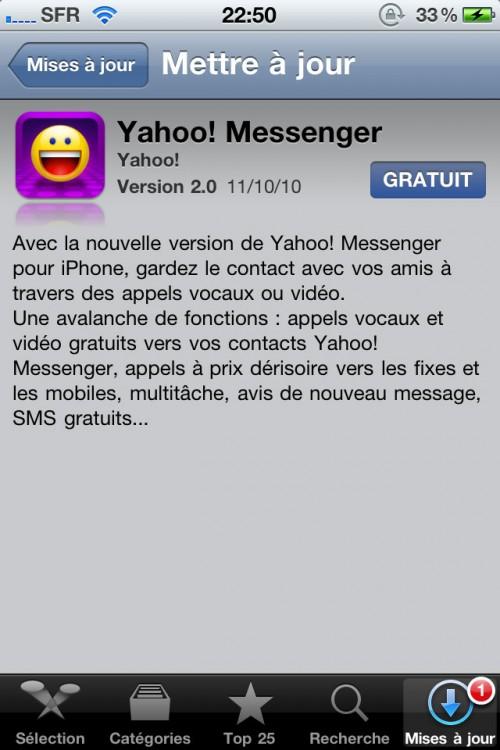 yehoo 500x750 AppStore   Yahoo! Messenger supporte maintenant lappel visio en Wifi et 3G