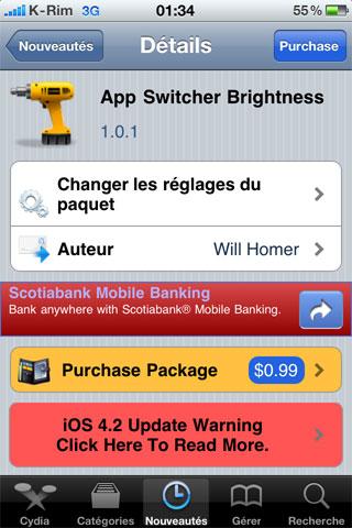 02 Cydia   App Switcher Brightness : Régler la luminosité depuis le dock multitâche [CRACK]