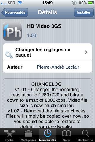 118 Cydia   HD Video 3GS : Activez lenregistrement HD sur 3GS en 1 clic [EDIT]