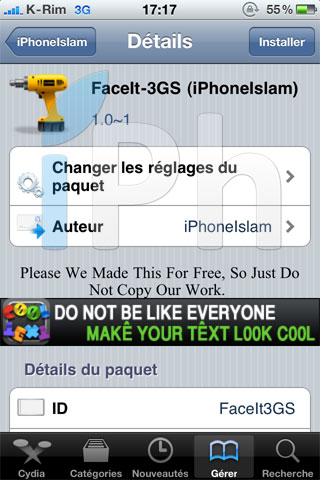 147 Cydia   FaceIt 3GS : Activer FaceTime sur iPhone 3GS