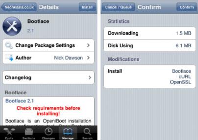 148 Cydia   Bootlace passe en version 2.1.5