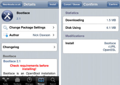 148 Cydia   Bootlace : Installer OpeniBoot directement depuis Cydia