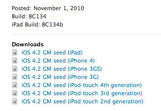 165 News   iOS 4.2 GM : une deuxième version disponible