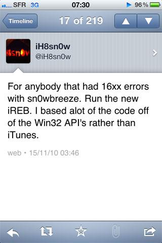232 Jailbreak News   iReb 4.0 enfin disponible : Evitez les erreurs 16xx avec Sn0wBreeze