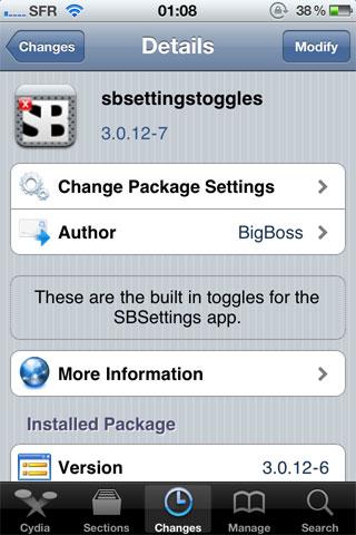3 Cydia   SBSettings passe en version 3.1.1 1