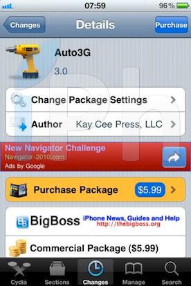 auto3g Cydia   Auto3G : Mise à jour en version 3.0
