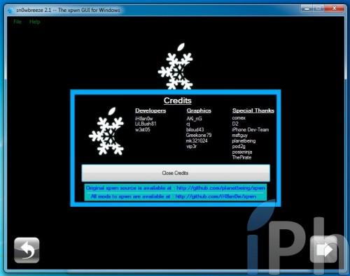 credit 500x395 Tutoriel   Jailbreak de tous les appareils avec Sn0wBreeze 2.1