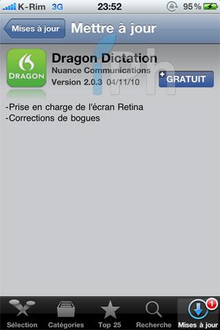 dragon screen AppStore   Dragon Dictation et Dragon Search  : Mise à jour avec support Retina