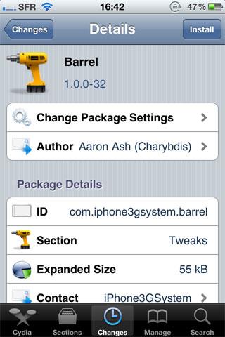 1122 Cydia   Barrel mis à jour : Ajoutez de nouveaux effets à votre SpringBoard