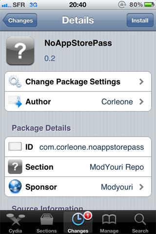 1184 Cydia   NoAppStorePass : Quand lAppStore ne vous demande plus votre mot de passe